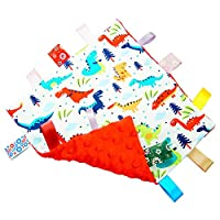 G-Tree Baby Comfort Blanket with Tag, Taggy Security Blanket - Multi-Coloured Dinosaurs Tag Taggy Blanket - Red Textured Underside