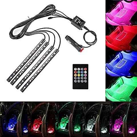Minger Moto/Voiture Ruban LED RGB 4x 22cm Intérieur Lumière Bande Strip de Voiture Décoration Néon (Illuminazione interna)