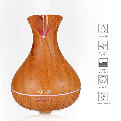 Tomshine 400ml Aroma Diffusor Luftbefeuchter Öl Diffusor ultraschall Duftzerstäuber Humidifier Holzmaserung mit 7 Lichtfarbe Niedrigwasserschutz für Aromatherapie Wohnzimmer Yoga Büro