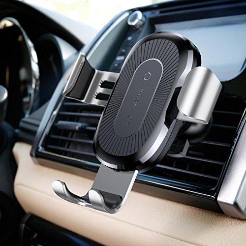 Bescita Kfz-Ladegerät Auto Keyye QI 2 in 1 Kfz Handyhalterung Auto Halterung Drahtlos Induktive Schnellladestation für Samsung Galaxy Note 8/S9/S8/S8 Plus/S7 Edge/S6 Edge/Note 5,iPhone 8/ 8 Plus/X (Sliber)