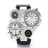 YGMDSL Armbanduhren Männer Gürtel Persönlichkeit Kreativ Mehrfachwahl Kompass Thermometer Mehrere Zeitzonen Quarzwerk,White
