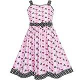 Mädchen Kleid Rot Herz Bogen Binden Punkt Sommer Gr. 98-104