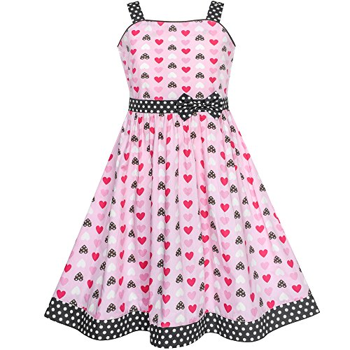 (Mädchen Kleid rot Herz Bogen Binden Punkt Sommer Gr. 110)