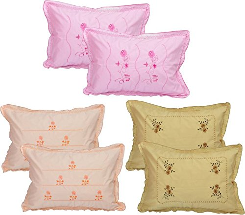 HSR Collection Pure Cotton 300TC Standard Size Multicolor Pillow Cover (Set of...