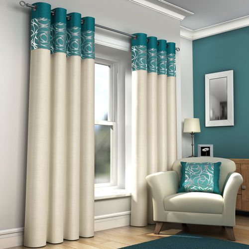 RING TOP FULLY LINED PAIR EYELET READY MADE CURTAINS RED BLACK SILVER CREAM  BLUE (Teal And Cream, 66 Part 35