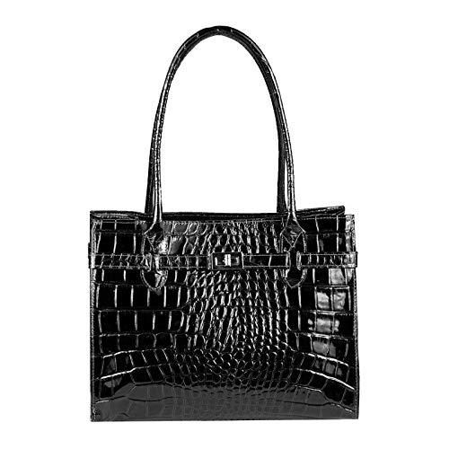 OBC Made in Italy Damen Leder Tasche Businesstasche Handtasche Henkeltasche Umhängetasche Shopper Schultertasche Kroko Prägung Schwarz (Lackleder) - Schwarze Kroko-handtasche