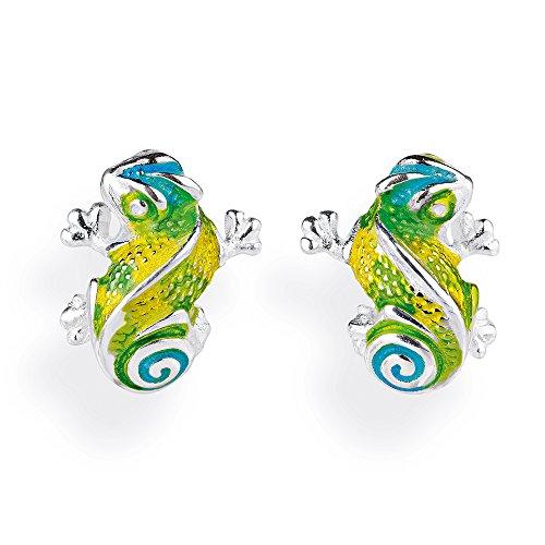 Heartbreaker Luxus Chamäleon Ohrstecker aus der Kollektion Chamäleon in Echtsilber, Ohrringe Silber 925 Sterling nickelfrei, Elegante Design Ohrringe für Damen