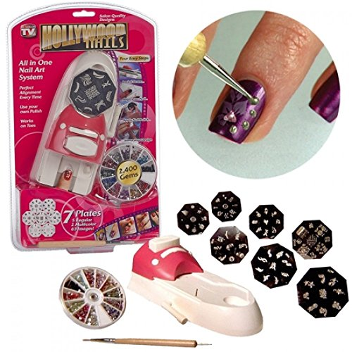 Bonzeal Hollywood Nail Polish Art All in One Professional Nail Art Kit with Stamping Gems Paint Royal lifestyle at Home