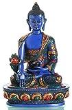 Medizinbuddha Buddha-Statue Resin blau bemalt 20 cm hoch
