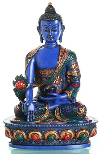 BUDDHAFIGUREN Estatua budista - Buda de medicina de 20 cm de altura - pintado de azul