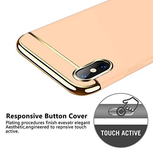 für IPhone X Hülle - KOBWA(3-IN-1 Serie) Ultra Thin Hard PC Anti-Scratch Schützende Case für Apple IPhone X - Apple Logo Sichtbar (Rot) Gold