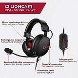 Lioncast LX50 Gaming Headset / Stereo Kopfhörer, mit abnehmbaren Mikrofon für PC/PS4/XBox One/Nintendo Switch/Mobile, schwarz