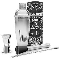 Juego de coctelería complete VINENCO + libro electrónico de recetas – Coctelera de acero inoxidable | Cocktail set con: medidor, tenedor, cucharilla, colador, vaso mezclador, mortero | Caja de regalo