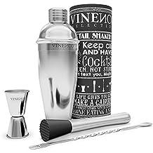VINENCO Cocktailshaker Set Cocktailrezepte Ebook – Premium Edelstahl Bar Cocktailset: Professioneller Cocktail Shaker/Martinishaker/Mixer mit Sieb, Messbecher, Barlöffel, Gabel + Barstößel