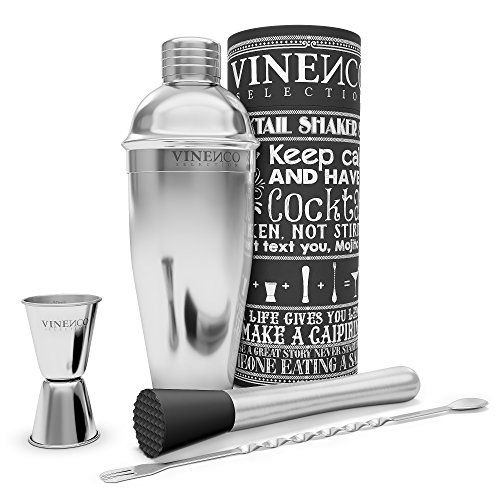 Cocktail Shaker Set with Accessories & Recipes E-book | Premium Stainless Steel Bar Kit...
