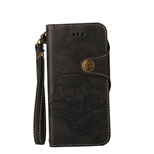 iPhone 4 Hülle, iPhone 4S Hülle, iPhone 4 4S Lederhülle, iPhone 4 4S Hülle Brieftasche, BONROY [Premium Leder Serie] Retro Rosen Muster Orange Handyhülle Schutzhülle PU Leder Flip Tasche Case Handycov Rosen-Schwarz