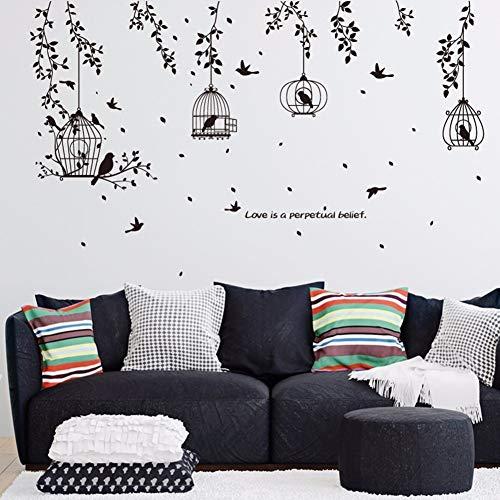 wassaw Schwarzer Vogelkäfig Und Blätter-Schattenbild-Muster PVC-Wandaufkleber Fernsehhintergrund-Wandaufkleber-Dekorativer Speisesaal-Schlafsaal - Schönen Speisesaal Möbel