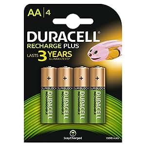 Duracell Recharge Plus Piles Rechargeables type AA 1300 Mah , Lot de 4