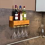 Relaxdays Weinregal mit Glashalter H x B x T: ca. 17 x 37 x 11,5 cm Flaschenregal aus Bambus mit Platz für 4 Flaschen und 4 Gläser zur Wandmontage Hängeregal Holz als Weinflaschenhalter Ablage, natur - 2