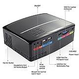 NEXGADGET Proyector Vídeo Portátil 1080P de LCD 1800 Lúmenes Mini Entradas de HDMI, USB, Tarjeta SD, VGA, AV para Ver en Casa el Fútbol, Películas, Videojuegos, etc. Compatible con PC / DVD / iPad / Smartphone