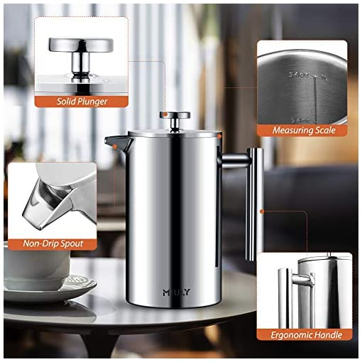 MIULY French Press Cafetière 1000ml/8 Cup Stainless Steel Espresso Coffee Maker Double Wall Insulated for Hot with Coffee Set 5 Filter Screen Mesh Coaster Mat Cleaning Brush Coffee Measuring Scoop