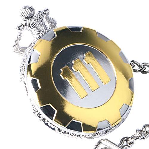 Taschenuhr, Golden Luxury Fallout 4 Vault 111 Steampunk Quarz-Taschenuhr, Geschenk für Herren – opqjkseuy Taschenuhr mit Kette