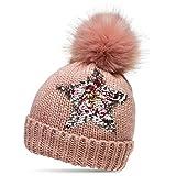 CASPAR MU161 Damen Strick Winter Mütze mit Pailletten Stern und großem Fellbommel, Farbe:rosa;Größe:One Size
