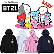 28 styles cartoon BTSCartoon creative loose large size simple hoodies BT21 Fans aid fleeces Rap Monster/JIN/SU