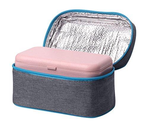 Elfin-Lore Lunchbox mit Kühltasche Set Bento Box aus Biologisch Abbaubarem Material (Weizenstroh Faser) BPA-frei |Mikrowelle Erhitzbar| Gefrierschrank, Geschirrspüler-Anwendbar 800ML - Rosa