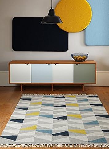 Moderner Designer Teppich Hackney Kelim 160x230cm Geo Mustard Senf Gelb, Elfenbein, Grau 80% Wolle 20% JUTE