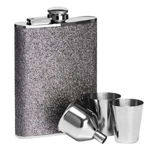 Premier Housewares 0508087 Flachmann Set Edelstahl-silber-Glitter, 8 Unzen-Flasche 2 Tassen Funnel (Unzen Tassen 2)