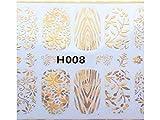 Disegni di arte del chiodo Fiori 3D Nail Art Sticker Decalcomanie Decorazioni Hot Stamping Series (Golden) per ragazze