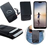 K-S-Trade Gürteltasche Huawei P20 Lite Single-SIM Brusttasche Brustbeutel Schutz Hülle Smartphone Case Handy schwarz Travel Bag Travel-Case vertikal