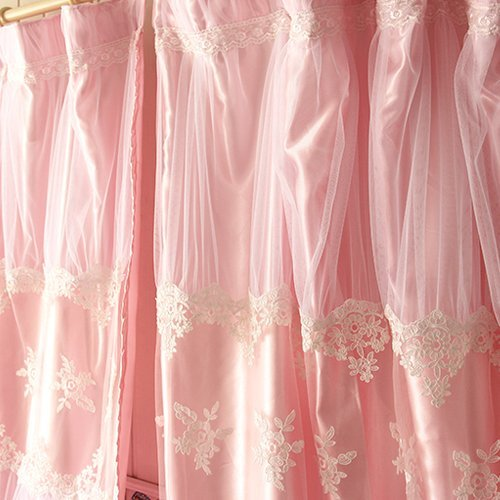 Diaidi,Custom Made,Korean Curtain,Princess Pink Curtain,Lace Ruffle Curtain,Luxury Bedroom Livingroom Curtain,W59''*L86.6''