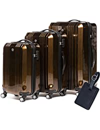 41b3be2e3 FERGÉ Luggage Set 3 Piece Hard Shell Trolley Cannes Suitcase Set 4 Twin Spinner  Wheels