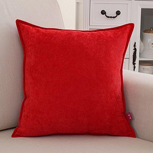 Teebxtile Les filles fée ballerine coussin oreiller pleine couleur peluche oreiller, 50x50cm (+ capot, rouge