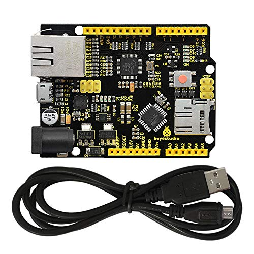 KEYESTUDIO Module Accessory Starter Kit W5500 Ethernet Development Board support MicroSD Card w/USB Cable (No POE) für Arduino MEGA2560 R3 (Ethernet-board)