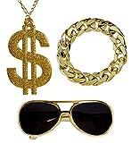 shoperama Hustler Rapper Zuhälter Set Brille Dollar-Kette Glieder-Armband Dandy Pimp Proll Kostüm-Zubehör