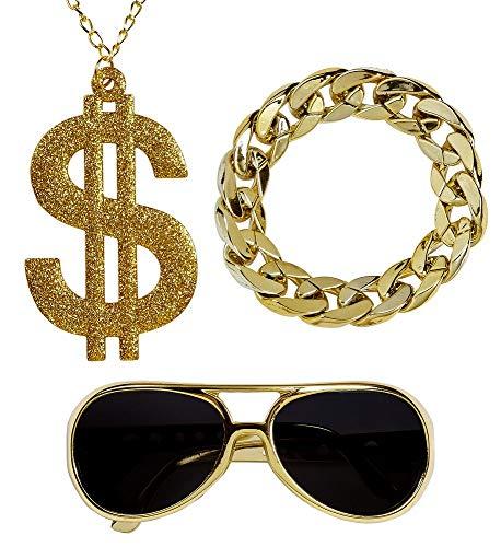 (shoperama Hustler Rapper Zuhälter Set Brille Dollar-Kette Glieder-Armband Dandy Pimp Proll Kostüm-Zubehör)