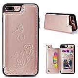 CESTOR Luxus Brieftasche Hülle für Apple iPhone 7/8 Plus 5.5 Zoll, Retro Premium Flip PU Leder Floral Schmetterling Muster Design Flexible Silikon TPU Rücken Case Cover [mit Kartenhalter Ständer] + Ring Halterung für iPhone 7/8 Plus 5.5