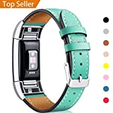 Fitbit Charge 2 Band Leather Strap, Mornex Classic Adjustable Replacement Wristband for Fitbit Charge 2 Fitness Accessories With Metal Connectors, Mint Green