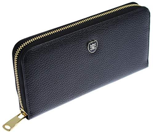 EMIRUS® Geldbeutel Damen Echt Leder |Elegante| TÜV geprüft | RFID NFC Schutz | Geldbörse Quer 14 Kartenfächer Münzfach (Schwarz) -