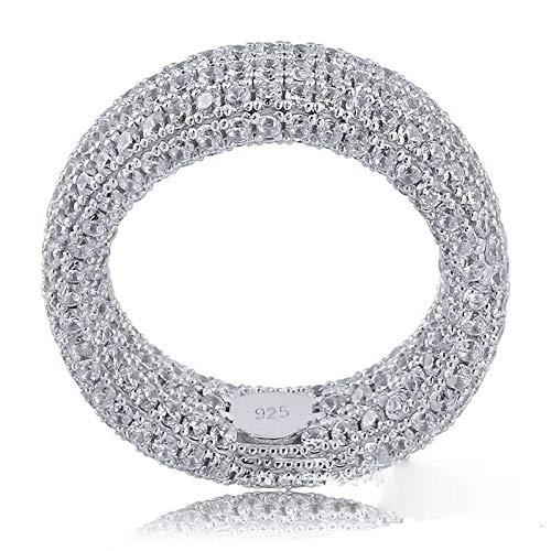 ip Hop Iced Out Zirkon Simulierter Diamant Ring für Verlobung Ehering Punk Schmuck,Silver,9 ()
