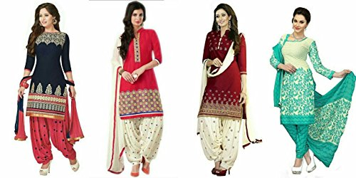 Market Magic World womens Cotton Silk Anarkali Dress(Blue, Red & White, Maroon, Rama_MMW_Combo_7014_Free Size)