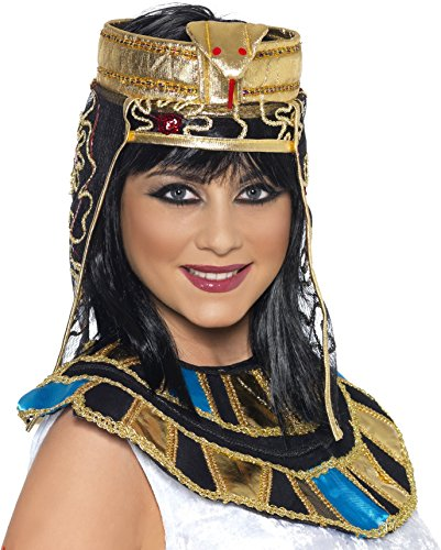 Smiffys Ägyptischer Kopfschmuck Gold mit Schlangen-Design, One Size