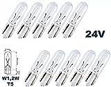 24 Volt - 10 Stück - W 1,2W - T15 - - 1,2Watt - Nfz LKW Beleuchtung - Armaturbeleuchtung Glühlampe, Glassockellampe, Glühbirne, Soffitte, Lampen. Mit E-Prüfzeichen und ist für den Straßenverkehr zugelassen. INION®