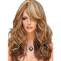 TAO Mme Personnalité De La Mode Perruque Dorée Moelleux Cheveux Longs Bouclés