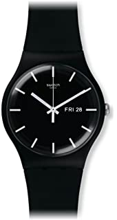 Swatch Originals Black Dial Silicone Strap Men's Watch SUOB720 Men at amazon
