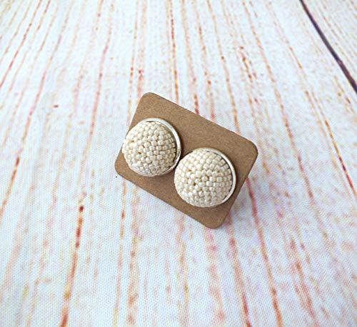 Beige Kugel Ohrclip or Ohrstecker mit Perlen Damen Ohrringe