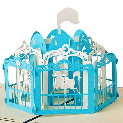 Pop Up 3D Grußkarte mit viele verschiedene Motive für Geburtstag Business-Grüße Ferien Grüße Kinder Erwachsene (Karussell(blau))